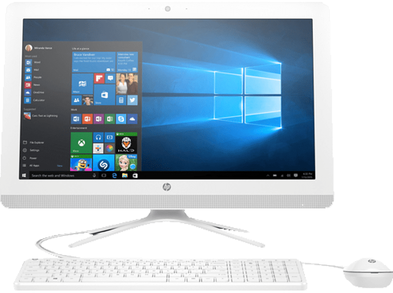HP 22-B006NG, All-in-One-PC mit 21.5 Zoll Display, A6 Prozessor, 4 GB RAM, 1 TB HDD, Radeon R 4, Snow White