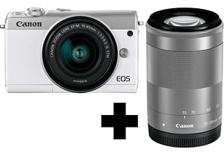 CANON EOS M100 Kit Systemkamera 24.2 Megapixel mit Objektiv 15-45 mm, 55-200 mm f/6.3, f/6.3, 7.5 cm Display   Touchscreen, WLAN