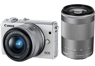 CANON Hybride camera EOS M100 Wit + 15-45 mm + 55-200 mm Zilver