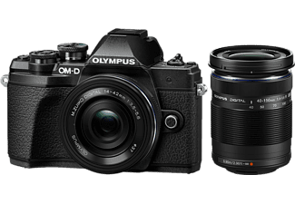 OLYMPUS Hybride camera E-M10 Mark III Zwart + 14-42mm Pancake Zwart + 40-150mm R Zwart (V207074BE000)