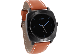 XLYNE PRO NARA XW (54012), Smart Watch, Echtleder, 200 mm x 24 mm, Gehäuse: Black Chrome / Armband: Light Cognac Brown