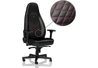 NOBLECHAIRS ICON Faux Leather Gamingstol (svart/röd)