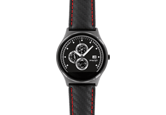 XLYNE PRO QIN XW PRIME II (54016), Smartwatch, Echtleder, 210 mm x 22 mm, Gehäuse: Black Chrome / Armband: Carbon Red Black