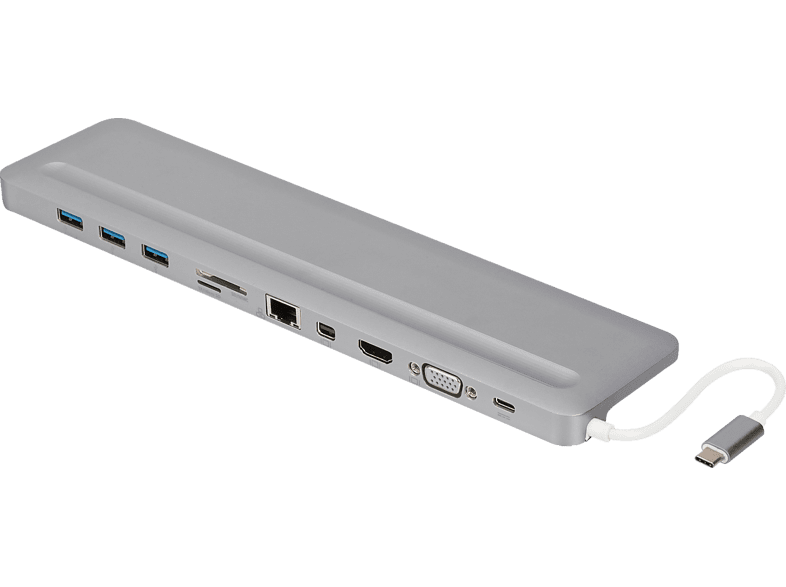 DIGITUS DA-70862 Universal 12 Zoll,12-Port, USB Typ-C, HDMI, MiniDP, VGA, RJ45, Dockingstation