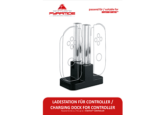 AK TRONIC Für Nintendo Switch Controller, Ladestation, Transparent/Schwarz