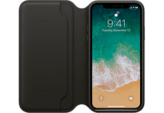 APPLE Leather Folio Läderfodral till iPhone X (Kompatibel med trådlös laddning) - Svart