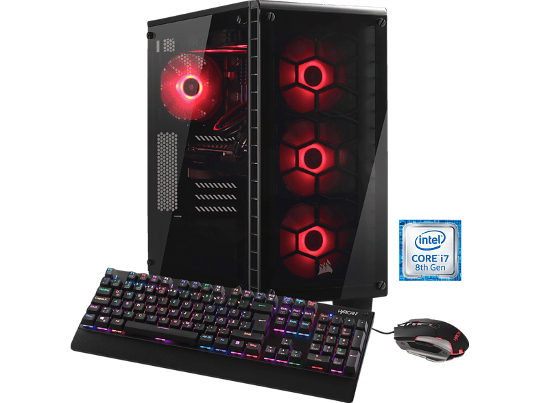 HYRICAN CRYSTAL 5686, Gaming PC mit Core™ i7 Prozessor, 32 GB RAM, 500 GB SSD, 3 TB HDD, GeForce® GTX 1080, 8 GB