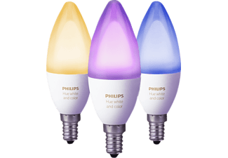 PHILIPS 241282 Hue White & Color Ambiance 3er Pack, E14, LED Leuchtmittel, 6.5 Watt