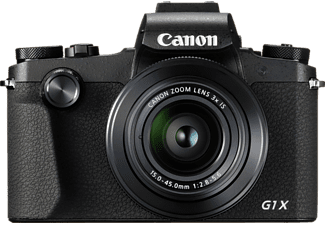 CANON PowerShot G1 X Mark III Digitalkamera, 24.2 Megapixel, 3x opt. Zoom, Full HD, APS-C CMOS Sensor, Externer Blitzschuh, Near Field Communication, WLAN, 24-72 mm Brennweite, Autofokus, Touchscreen, Schwarz