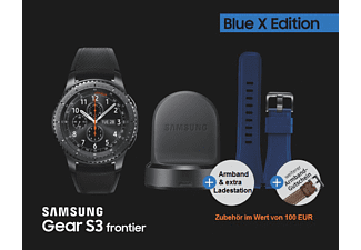 SAMSUNG  Gear S3 frontier Blue X Edition Smartwatch Edelstahl Silkon, Small: 110 mm | Large: 130 mm, Space Gray