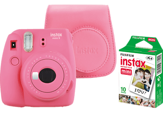 FUJIFILM Instax Mini 9 + Case + Film Sofortbildkamera, Flamingo Pink