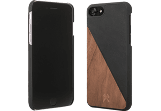 WOODCESSORIES EcoSplit Handyhülle, Walnuss/Schwarz, passend für Apple iPhone 7, iPhone 8
