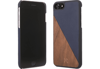 WOODCESSORIES EcoSplit Handyhülle, Walnuss/Blau, passend für Apple iPhone 7, iPhone 8