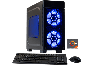 HYRICAN STRIKER 5676 BLUE 1500X/8GB/120GB+1TB, Gaming PC mit Ryzen™ 5 Prozessor, 8 GB RAM, 120 GB SSD, 1 TB HDD, Geforce® GTX 1050 Ti, 4 GB GDDR5 Grafikspeicher
