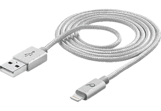 CELLULAR LINE UNIQUE DESIGN USB Ladekabel, passend für Apple iPhone 5/iPhone 5s/iPhone SE/iPhone 6/iPhone 6s/iPhone 6 Plus/iPhone 7/iPhone 7 Plus/iPhone 8/iPhone X, Silber