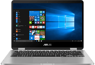 ASUS Vivobook Flip TP401NA-EC007T, Notebook mit 14 Zoll Display, Pentium® Prozessor, 4 GB RAM, 64 GB eMMC, HD-Grafik 505, Light Grey Metal