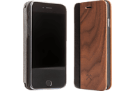 WOODCESSORIES EcoFlip , Bookcover, Apple, iPhone 5, iPhone 5s, iPhone SE, Walnuss/Echtholz/Kunstleder, Walnuss/Schwarz