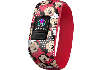 GARMIN  VIVOFIT JR 2 DISNEY MINNIE MAUS, Fitness Tracker, 130-175 mm, Silikon, Rot/Bunt