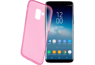 CELLULAR LINE Cellularline COLOR CASE flexibles, mattes TPU-Backcover für Samsung Galaxy S9 Handyhülle, Pink-transparent, passend für Samsung Galaxy S9