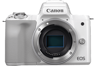 CANON EOS M50 Body Systemkamera, 24.1 Megapixel, 4K, Full HD, HD, CMOS Sensor, Externer Blitzschuh, Near Field Communication, WLAN, Autofokus, Touchscreen, Weiß