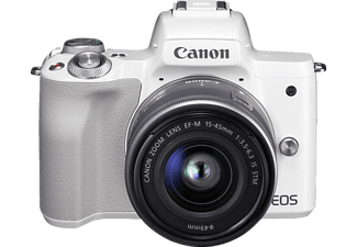 CANON EOS M50 Kit Systemkamera, 24.1 Megapixel, 4K, Full HD, HD, CMOS Sensor, Externer Blitzschuh, Near Field Communication, WLAN, 15-45 mm Objektiv, Autofokus, Touchscreen, Weiß