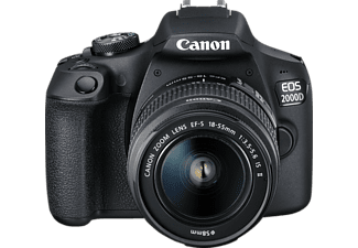 CANON EOS 2000D Kit Spiegelreflexkamera, 24.1 Megapixel, Full HD, CMOS Sensor, Near Field Communication, WLAN, 18-55 mm Objektiv (EF-S, IS II), Autofokus, Schwarz