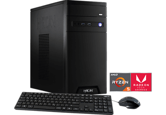 HYRICAN CYBERGAMER 5828 BLACK RYZEN 5, Gaming PC mit Ryzen™ 5 Prozessor, 8 GB RAM, 240 GB SSD, 1 TB HDD, Radeon™ Vega 11 Grafik on board GPU 1.25 GHz