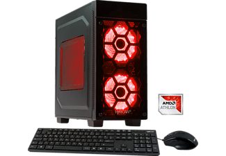 HYRICAN STRIKER 5842 RED ATHLON X4-950, Gaming PC mit Athlon X4 Prozessor, 16 GB RAM, 120 GB SSD, 1 TB HDD, Geforce® GTX 1050, 4 GB GDDR5 Grafikspeicher
