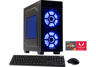 HYRICAN STRIKER 5843 BLUE RYZEN 5, Gaming PC mit Ryzen™ 5 Prozessor, 8 GB RAM, 120 GB SSD, 1 TB HDD, Radeon™ Vega 11 Grafik on board GPU 1,25GHz