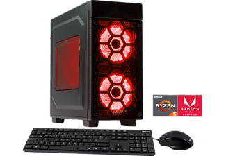 HYRICAN STRIKER 5844 RED RYZEN 5, Gaming PC mit Ryzen™ 5 Prozessor, 8 GB RAM, 120 GB SSD, 1 TB HDD, Radeon™ Vega 11 Grafik on board GPU 1,25GHz