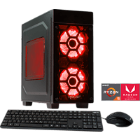 HYRICAN STRIKER 5844 RED RYZEN 5, Gaming PC mit Ryzen™ 5 Prozessor, 8 GB RAM, 120 GB SSD, 1 TB HDD, Radeon™ Vega 11