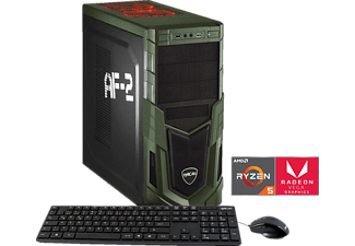 HYRICAN MILITARY GAMING 5848 RYZEN 5, Gaming PC mit Ryzen™ 5 Prozessor, 8 GB RAM, 120 GB SSD, 1 TB HDD, Radeon™ Vega 11 Grafik on board GPU 1,25GHz