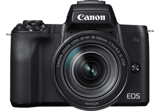 CANON EOS M50 Kit Systemkamera, 24.1 Megapixel, 4K, Full HD, HD, CMOS Sensor, Externer Blitzschuh, Near Field Communication, WLAN, 18-150 mm Objektiv, Autofokus, Touchscreen, Schwarz