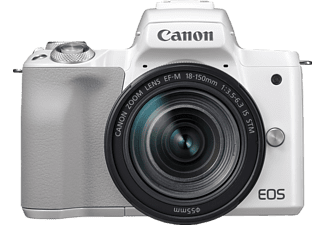 CANON EOS M50 + EF-M 18-150mm f/3.5-6.3 IS - Systemkamera (Fotoauflösung: 24.1 MP) Weiss