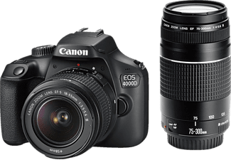 CANON EOS 4000D Kit Spiegelreflexkamera, 18 Megapixel, Full HD, APS-C Sensor, Near Field Communication, WLAN, 18-55 mm, 75-300 mm Objektiv, Autofokus, Schwarz