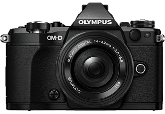 OLYMPUS OM-D E-M5 Mark II Pancake Zoom Kit Systemkamera 16.1 Megapixel mit Objektiv 14-42 mm f/5.6, 7.6 cm Display  , WLAN