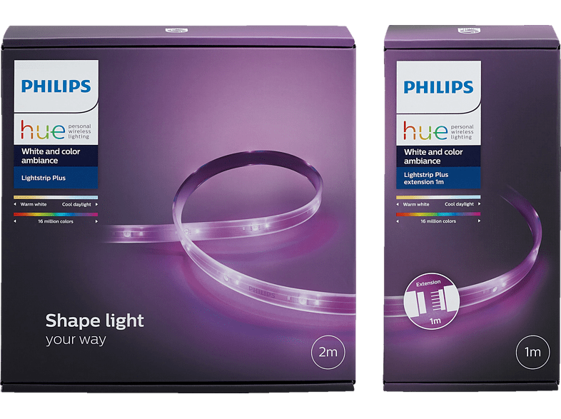 PHILIPS PL24085 Hue Light Strip Plus Basis, 1x 2m LightStrip Plus Basisset, 1x 1m LightStrip Plus Erweiterung, Netzteil, Bedienungsanleitung