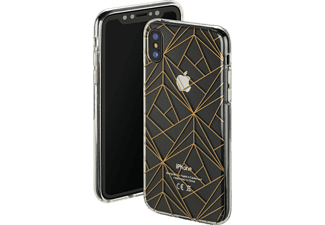 HAMA Golden Graphics Handyhülle, Transparent/Gold, passend für Apple iPhone X