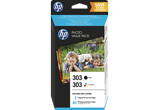 Cartuchos de tinta - HP Photo Value Pack 303, Negro y Tricolor con 40 hojas/10x15cm