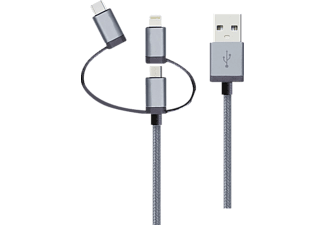 REALPOWER 3 in1 Kabel, Sync- und Ladekabel, 1 m, Grau
