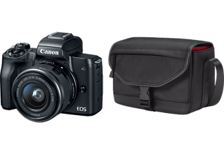 CANON Hybride camera EOS M50 Zwart + 15-45 mm + Tas SB130 + SD 16GB