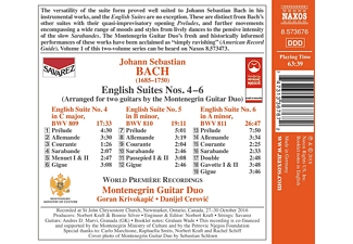 Montenigrin Guitar Duo - English Suites Nos. 4-6 Arranged For Two Guitars [CD]