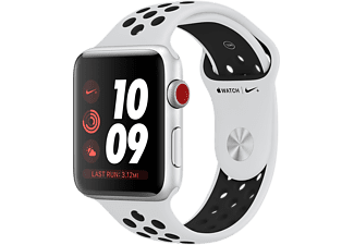 APPLE Watch Series 3 GPS + Cellular eSIM Nike+ 38mm Aluminiumboett i Silver - Sportband Platina/Svart