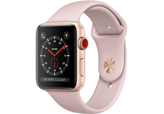 APPLE Watch Series 3 GPS + Cellular eSIM 38mm Aluminiumboett i Guld - Sportband Sandrosa