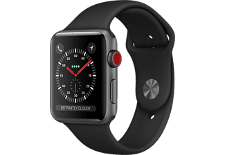 APPLE Watch Series 3 GPS + Cellular eSIM 42mm Aluminiumboett i Rymdgrå - Sportband Svart