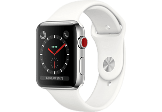 APPLE Watch Series 3 GPS + Cellular eSIM 42mm Silverboett i Rostfritt Stål - Sportband Krämvitt
