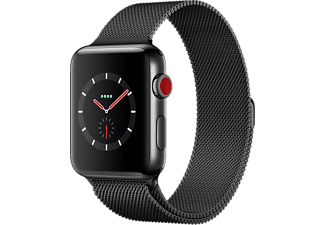 APPLE Watch Series 3 GPS + Cellular eSIM 42mm Boett i Rostfritt stål - Milanesisk Loop Rymdsvart