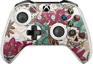 EPIC SKIN Xbox One S Controller Skin Sticker Skull Flower weiss , Skin Sticker, Skull Flower (Weiß)