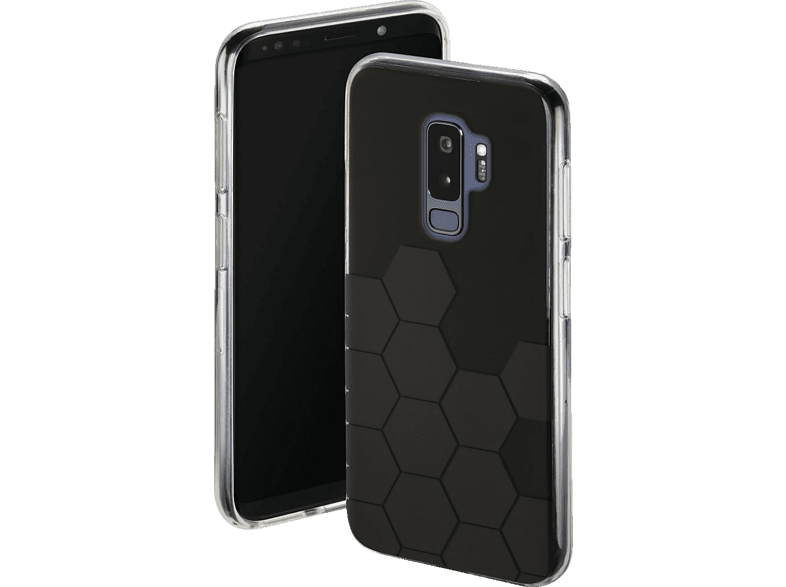 HAMA Hexagon Backcover Samsung Galaxy S9+ Thermoplastisches Polyurethan Schwarz