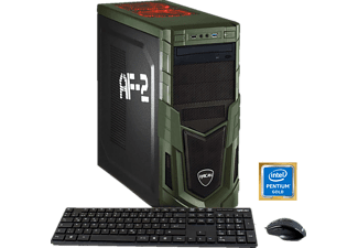 HYRICAN MILITARY GAMING 5879, Gaming PC mit Pentium® Prozessor, 8 GB RAM, 1 TB HDD, Geforce® GTX 1050 Ti, 4 GB GDDR5 Grafikspeicher